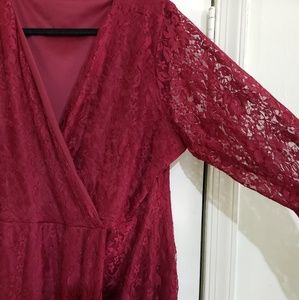 Boohoo Plus Dresses - Burgundy Lace Maxi Wrap Dress (Size 22)